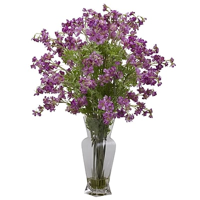 Nearly Natural 1253-PP Dancing Daisy Floral Arrangements, Purple