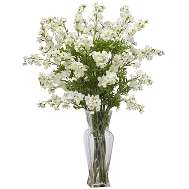 Nearly Natural 1253-WH Dancing Daisy Arrangements, White