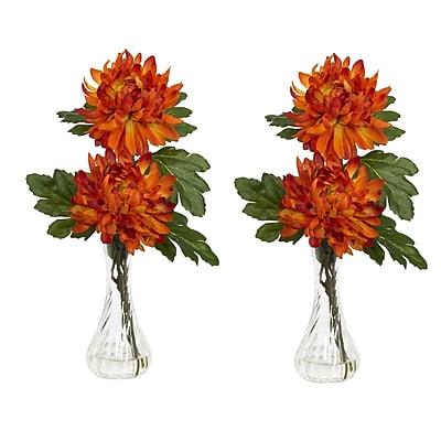 Nearly Natural 1261 Mum Floral Arrangements, Orange