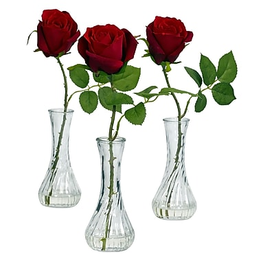 Nearly Natural 1269 Rose in Bud Vase Set of 3, Red