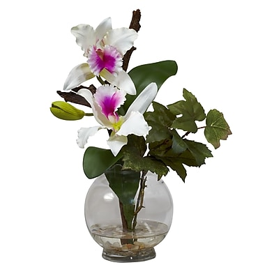 Nearly Natural 1275-WH Mini Cattleya Floral Arrangements, White