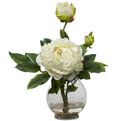 Nearly Natural 1278-WH Peony with Fluted Vase, White