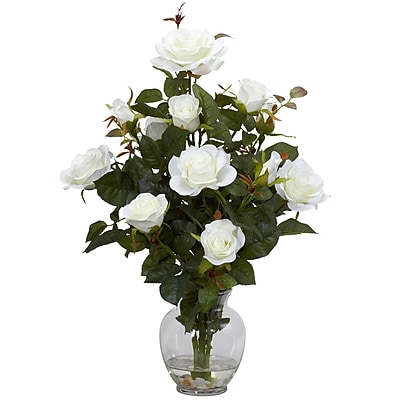 Nearly Natural 1281-WH Rose Bush Arrangements, White