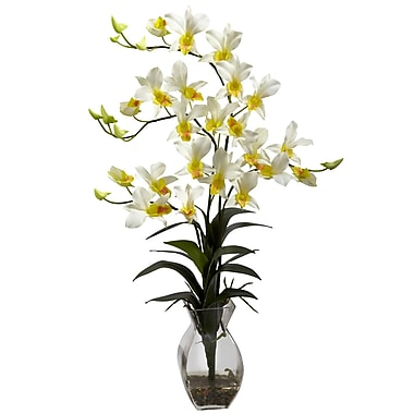 Nearly Natural 1292-CR Dendrobium Floral Arrangements, Cream