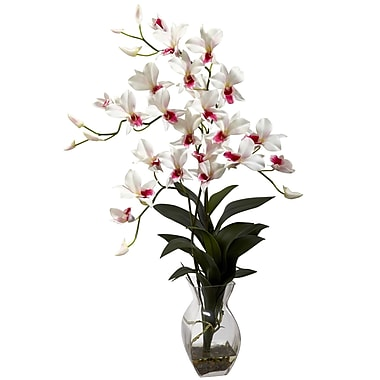 Nearly Natural 1292-WH Dendrobium Floral Arrangements, White