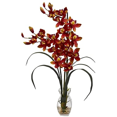 Nearly Natural 1293-BG Cymbidium Silk Floral Arrangements, Burgundy