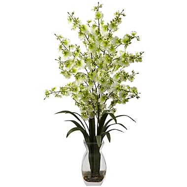 Nearly Natural 1294-GR Dancing Lady with Vase Floral Arrangements, Green