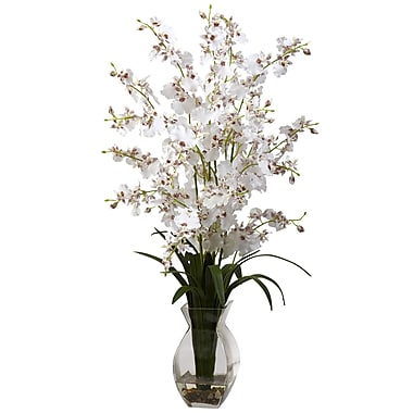 Nearly Natural 1294-WH Dancing Lady with Vase Floral Arrangements, White