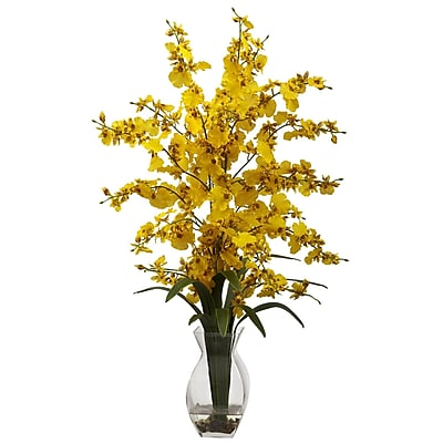 Nearly Natural 1294-YL Dancing Lady with Vase Floral Arrangements, Yellow