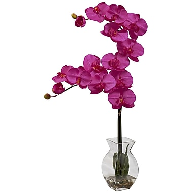 Nearly Natural 1295-BU Phalaenopsis Orchid with Vase Arrangements, Beauty pink
