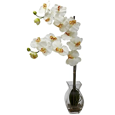 Nearly Natural 1295-CR Phalaenopsis Orchid with Vase Arrangements, Cream