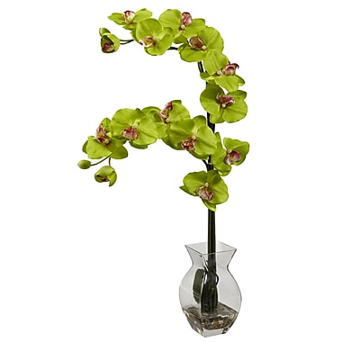 Nearly Natural 1295-GR Phalaenopsis Orchid with Vase Arrangements, Green