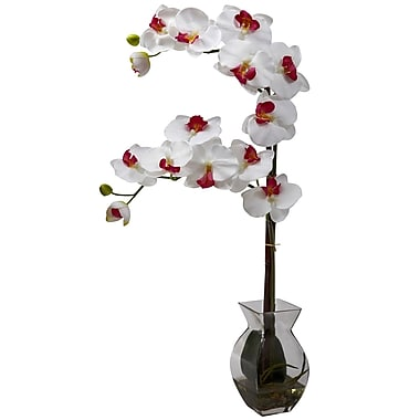 Nearly Natural 1295-WH Phalaenopsis Orchid with Vase Arrangements, White