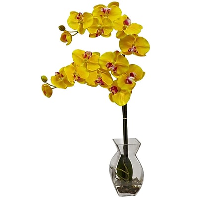 Nearly Natural 1295-YL Phalaenopsis Orchid with Vase Arrangements, Yellow