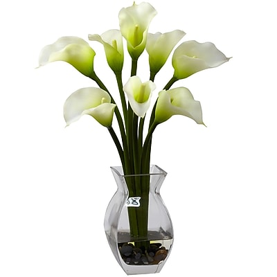 Nearly Natural 1296-CR Classic Calla Lily Floral Arrangements, Cream