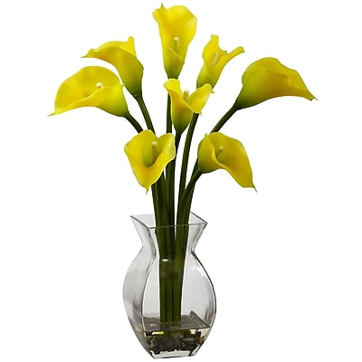 Nearly Natural 1296-YL Classic Calla Lily Floral Arrangements, Yellow