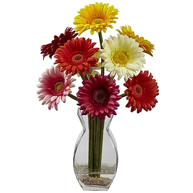 Nearly Natural 1297 Gerber Daisy Floral Arrangements, Assorted