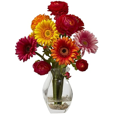 Nearly Natural 1298-AS Gerber Daisy Ranunculus Floral Arrangements, Assorted