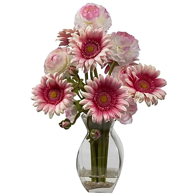 Nearly Natural 1298-PK Gerber Daisy Ranunculus Floral Arrangements, Pink