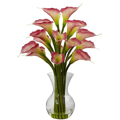 Nearly Natural 1299-PK Galla Calla Lily with Vase Floral Arrangements, Pink