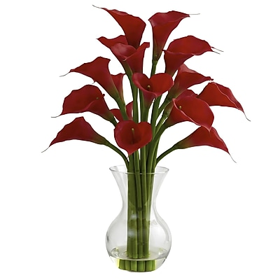Nearly Natural 1299-RD Galla Calla Lily with Vase Floral Arrangements, Red