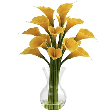 Nearly Natural 1299-YL Galla Calla Lily with Vase Floral Arrangements, Yellow