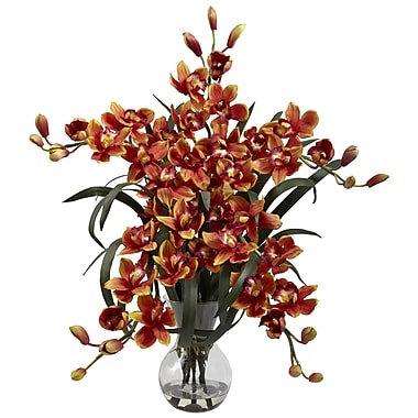Nearly Natural 1300-BG Large Cymbidium with Vase Floral Arrangements, Burgundy