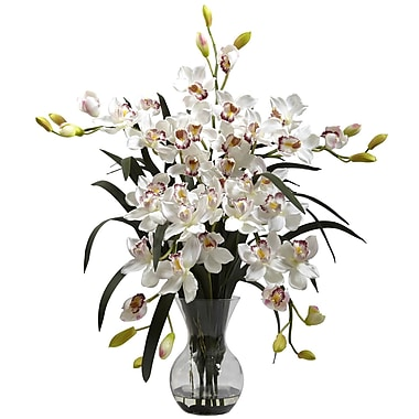 Nearly Natural 1300-WH Large Cymbidium with Vase Floral Arrangements, White