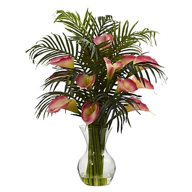 Nearly Natural 1301-PK Calla Lily and Palm, Pink