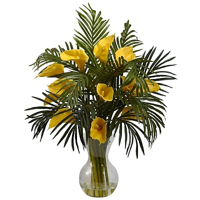 Nearly Natural 1301-YL Calla Lily and Palm, Yellow