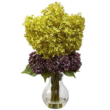 Nearly Natural 1304 Bostonian Hydrangea Floral Arrangements, Yellow