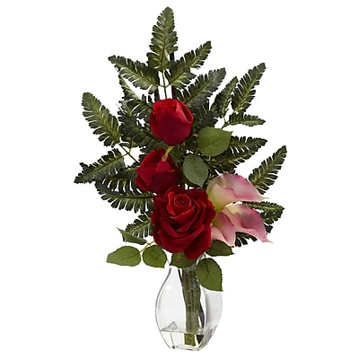 Nearly Natural 1306-PK Rose and Calla Floral Arrangements, Pink