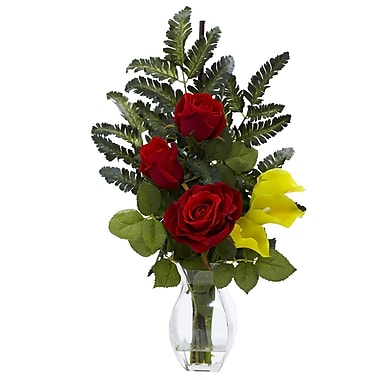 Nearly Natural 1306-YL Rose Calla Floral Arrangements, Yellow