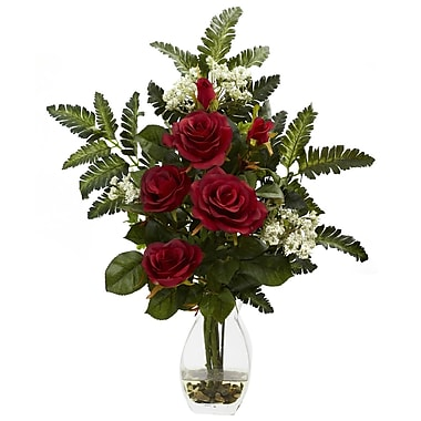 Nearly Natural 1308-RD Rose and Chryistam Floral Arrangements, Red
