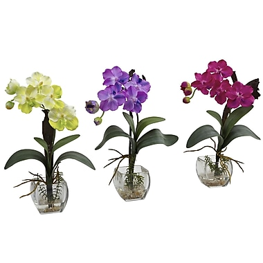 Nearly Natural 1312 Mini Vanda Orchid Set of 3, Assorted