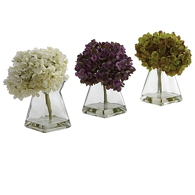 Nearly Natural 1313 Hydrangea with Vase Set of 3 Floral Arrangements, Assorted