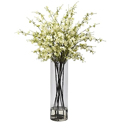 Nearly Natural 1316-WH Giant Cherry Blossom Floral Arrangements, White