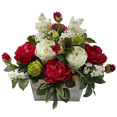Nearly Natural 1320 Mixed Floral Arrangements, Red