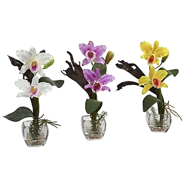 Nearly Natural 1321 Mini Cattleya Orchid Set of 3, Assorted