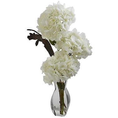 Nearly Natural 1325 Triple Hydrangea in Vase Floral Arrangements, White
