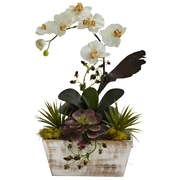 Nearly Natural 1326 Orchid and Succulent Garden, White