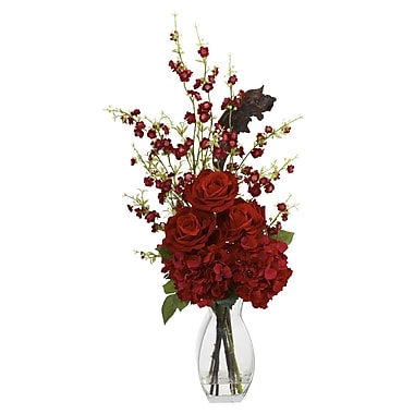Nearly Natural 1327 Hydrangea Cherry Blossom Rose Floral Arrangements, Red