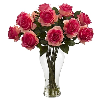 Nearly Natural 1328-DP Blooming Roses Floral Arrangements, Dark pink