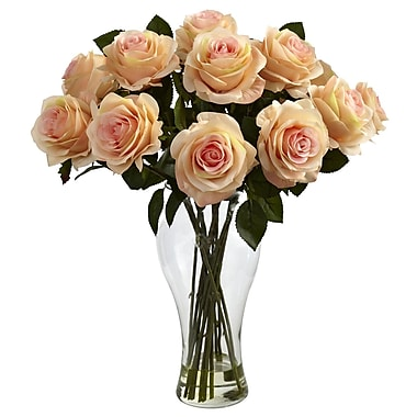Nearly Natural 1328-PH Blooming Roses Floral Arrangements, Peach