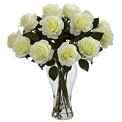 Nearly Natural 1328-WH Blooming Roses Floral Arrangements, White