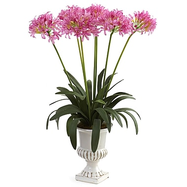 Nearly Natural 1332-PK African Lily with Urn Floral Arrangements, Pink