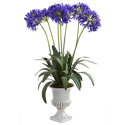 Nearly Natural 1332-PP African Lily with Urn Floral Arrangements, Purple