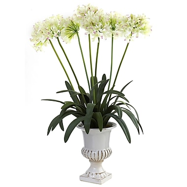 Nearly Natural 1332-WH African Lily with Urn Floral Arrangements, White
