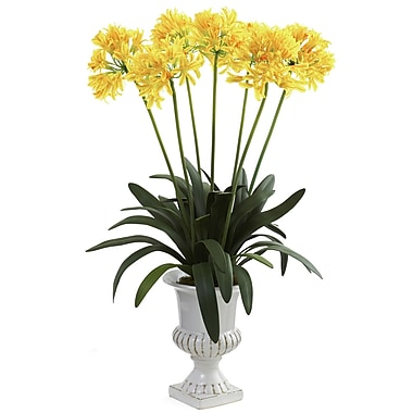 Nearly Natural 1332-YL African Lily with Urn Floral Arrangements, Yellow
