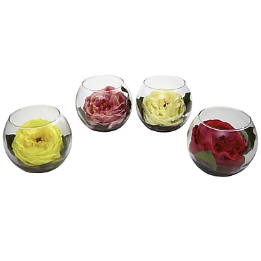 Nearly Natural 1333 Rose in Bubble Vase Set of 4 Floral Arrangements, Assorted